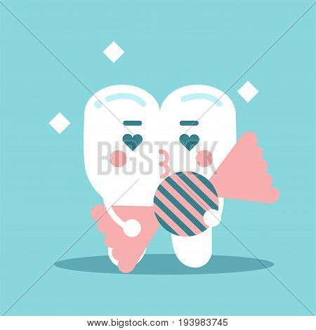 Cute enamored cartoon tooth character holding candy, dental vector Illustration for kids on a light blue background