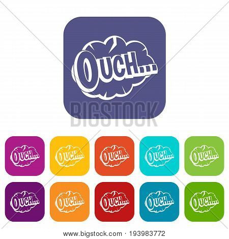 Ouch, speech cloud icons set vector illustration in flat style In colors red, blue, green and other