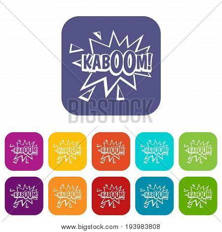 Kaboom, explosion icons set vector illustration in flat style In colors red, blue, green and other