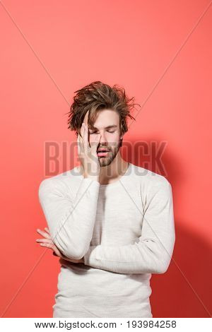 Sleepy Man With Long Uncombed Hair In Morning