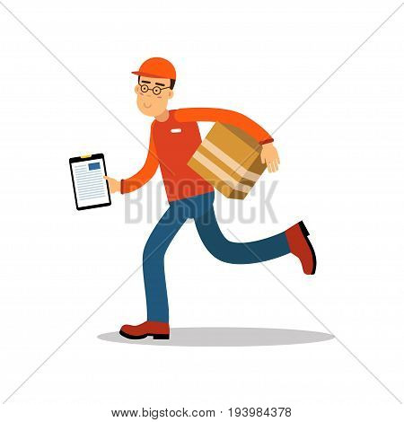 Smiling delivery man running with cardbox, courier in uniform at work cartoon character vector Illustration isolated on a white background