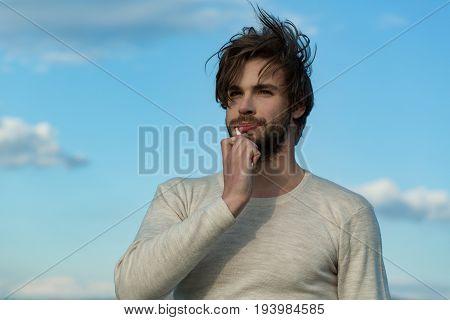 Man Brush Teeth With Toothpaste On Blue Sky, Metrosexual