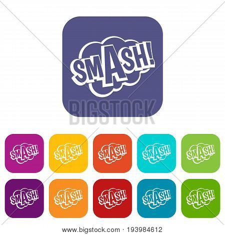 SMASH, comic book bubble text icons set vector illustration in flat style In colors red, blue, green and other