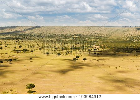 nature, landscape and wildlife concept - view to maasai mara national reserve savanna at africa