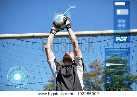 sport strategy, technology and people - soccer player or goalkeeper catching ball at football goal on field