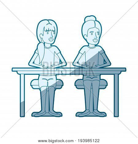 blue color silhouette shading of women sitting in desk one with collected hair and the other with ponytail hairstyle vector illustration