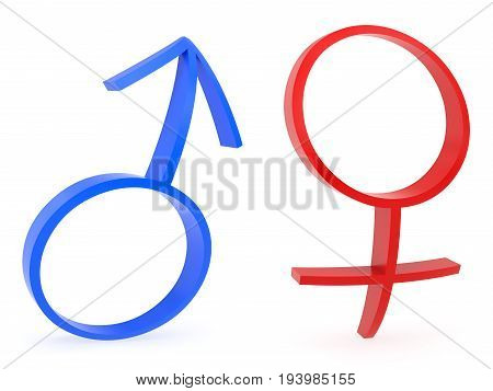 3D rendering of curved male and female gender symbols