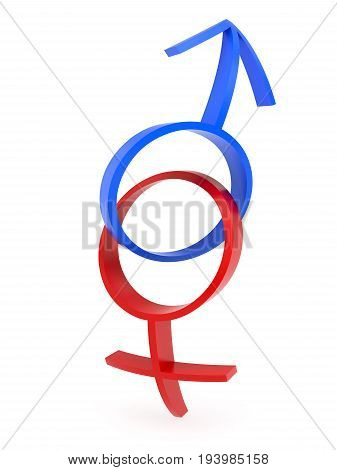 3D rendering of curved male and female gender symbols chained together