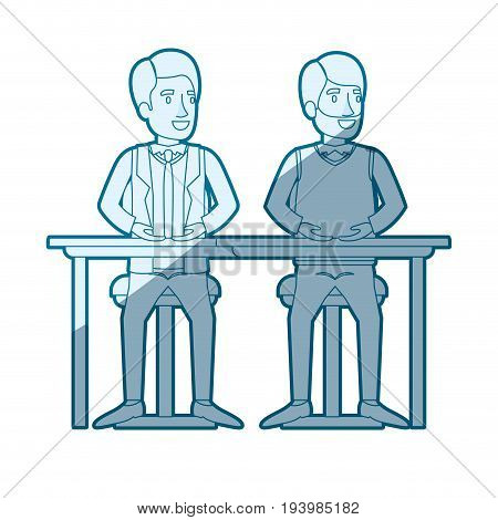 blue color silhouette shading of men sitting in desk one with casual clothes and beard and the other with formal suit and necktie vector illustration