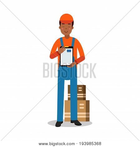 Delivery service worker delivering boxes and documents, courier in uniform at work cartoon character vector Illustration isolated on a white background