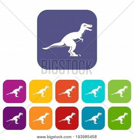 Theropod dinosaur icons set vector illustration in flat style In colors red, blue, green and other