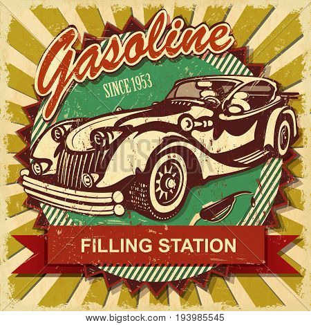 Gasoline filling station retro poster since 1953