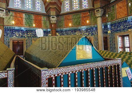 ISTANBUL TURKEY - MAY 2 2017: Tomb of the legendary turkish sultan Suleyman inside his turbe located near Suleymaniye mosque Istanbul.