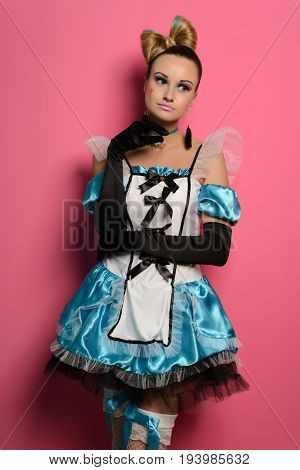 Pretty Vintage sexy maid housemaid on red background