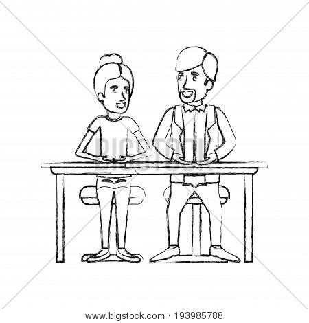 blurred silhouette teamwork of woman and man sitting in desk and her with collected hair and him in casual clothes with van dyke beard vector illustration