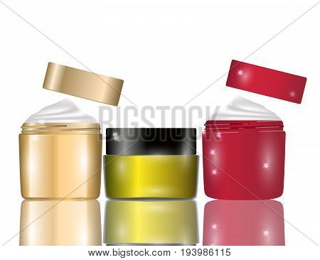 Glamorous facial cream jars isolated on white background. Mockup 3D Realistic Vector illustration for design template