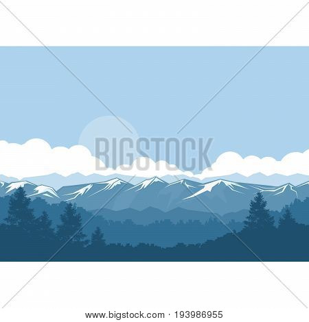 Mountains and forest foggy landscape with snow-covered peaks