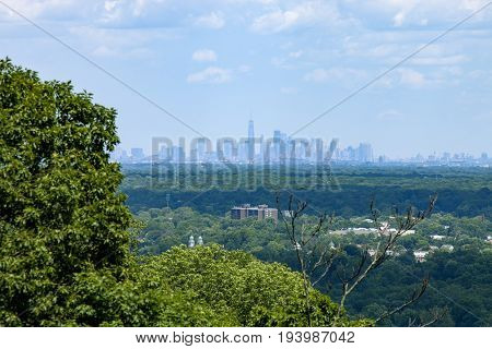 The view of the New York City skyline from Washington Rock State Park