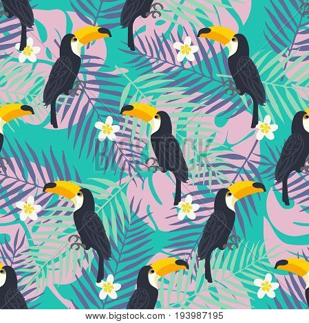Tropical trrendy seamless pattern with toucan birds, tropical leafs and exotic flowers. Beach background. Tropical bird and leaf