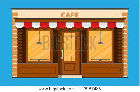 Cafe shop exterior. Street restraunt building. Vector illustration in flat style