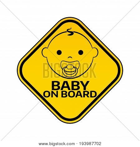 Baby On Board Sign With Child Boy Smiling Face With Nipple Silhouette In Yellow Rhombus On A White B