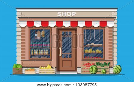 Daily products shop. Local fruit and vegetables store building. Groceries crates in front of storefront. Vector illustration in flat style