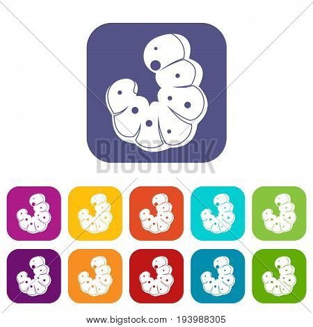 Worm icons set vector illustration in flat style In colors red, blue, green and other