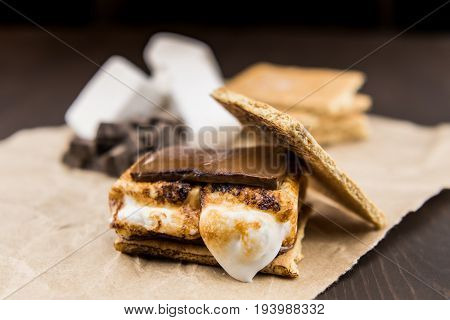 Smore With Graham Cracker Top Leaning