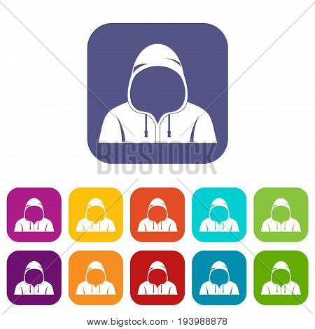 Hood icons set vector illustration in flat style In colors red, blue, green and other