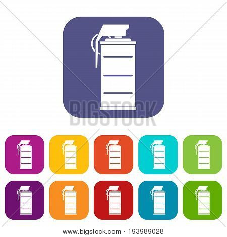 Stun grenade icons set vector illustration in flat style In colors red, blue, green and other