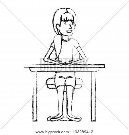 blurred silhouette of woman with ponytail hair and sitting in chair in desktop vector illustration