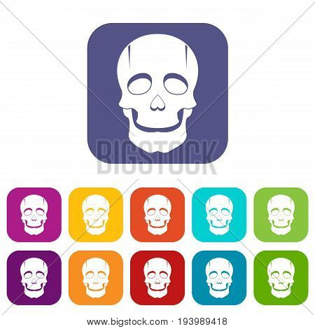 Singer mask icons set vector illustration in flat style In colors red, blue, green and other