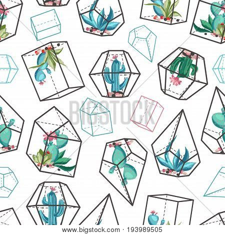 Cacti flower background. Seamless pattern with cactus and succulents. Hand drawn vector illustration in trendy cartoon style.