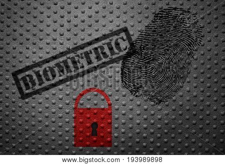 Biometric stamp with fingerprint and lock -- data security concept