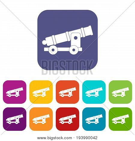 Cannon icons set vector illustration in flat style In colors red, blue, green and other