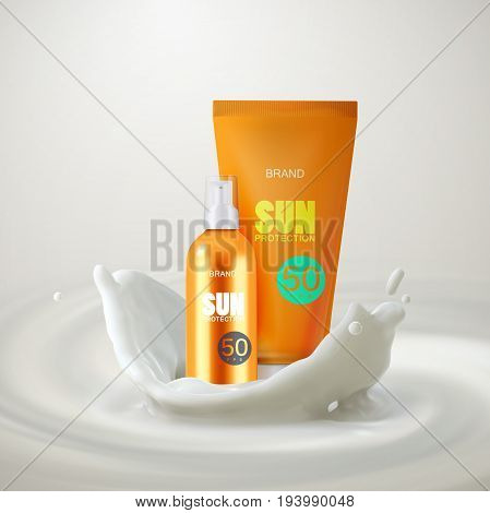 Sun protection cosmetics. Oil spray bottle with UV protection and moisturizing lotion tube with milky crown splash. Packaging design. Vector illustration. Cosmetics mockup design.