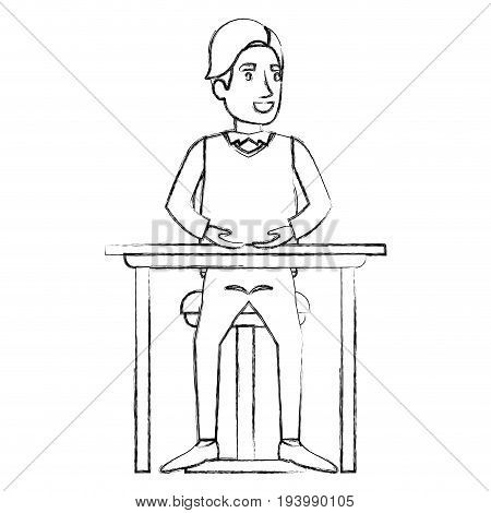 blurred silhouette of man in formal clothes and hair side fringe and sitting in chair in desktop vector illustration