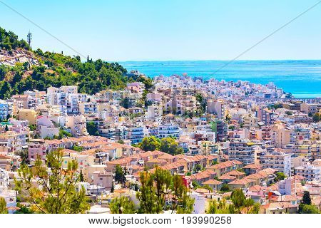 Old city and sea view in Kavala, Greece