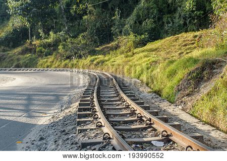 The 2 ft narrow gauge line of Darjeeling Toy train, that runs between New Jalpaiguri and Darjeeling in the Indian state of West Bengal, India.