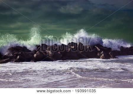 beautiful seascape big powerful tide in action. storm weather in a deep blue sea. forces of nature natural disaster. ocean wave in the Pacific ocean