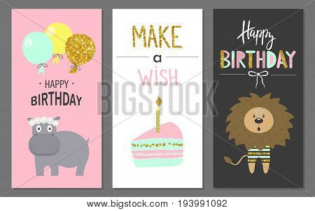 Happy birthday greeting cards and party invitation templates with cute animals.Vector illustration. Hand drawn style