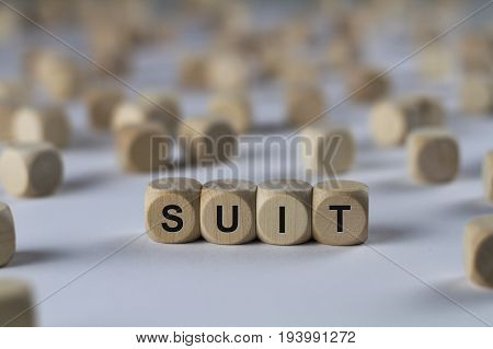 Suit - Cube With Letters, Sign With Wooden Cubes