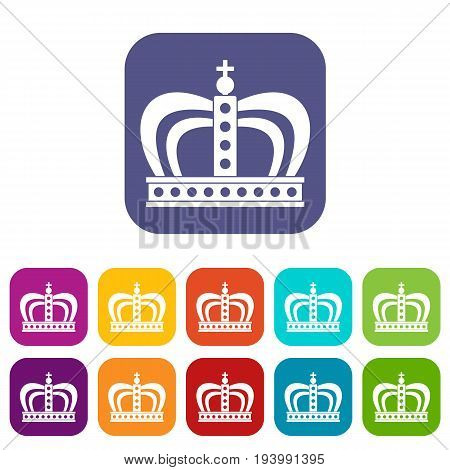 Monarchy crown icons set vector illustration in flat style In colors red, blue, green and other