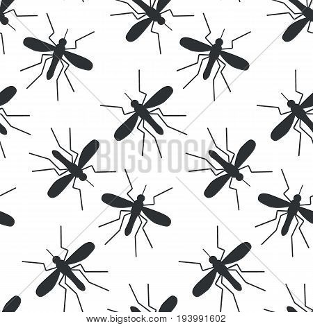 Mosquito vector seamless pattern Flat design of parasitic animal isolated on the white background with round shadow vector illustration with swatch