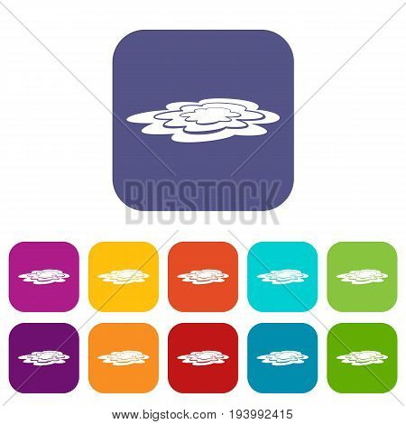 Water puddle icons set vector illustration in flat style In colors red, blue, green and other
