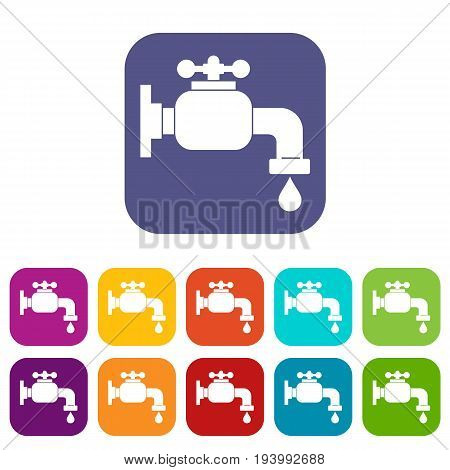 Water tap icons set vector illustration in flat style In colors red, blue, green and other