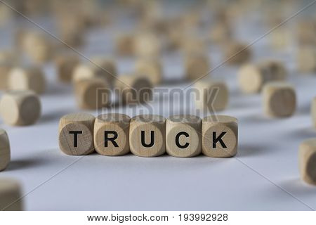 Truck - Cube With Letters, Sign With Wooden Cubes