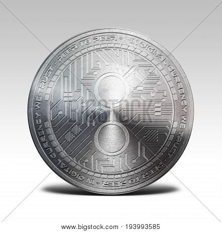 silver golem coin isolated on white background 3d rendering illustration