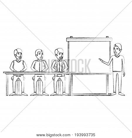 blurred silhouette men group sitting in a desk for executive male in presentacion business people vector illustration