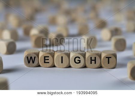 Weight - Cube With Letters, Sign With Wooden Cubes